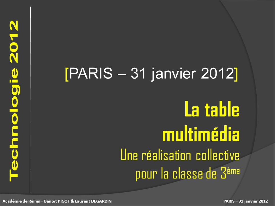 La table multimédia [PARIS – 31 janvier 2012]